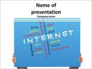 Рука держит плакат концепции сети Интернет и другие сходные по смыслу слова Шаблоны презентаций PowerPoint