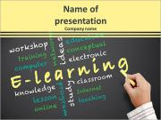 E-learning concept and other related words PowerPoint Templates