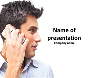 Profile of a cute guy who is on the phone PowerPoint Template