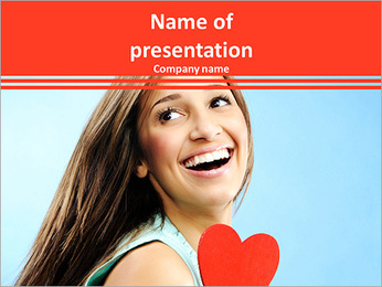 Beautiful young woman smiles over her shoulder and holds out a red heart to profess her love PowerPoint Template