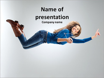 Beautiful girl dancing to the music PowerPoint Template