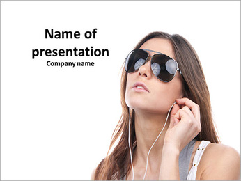 Brunette in glasses listening to music PowerPoint Template