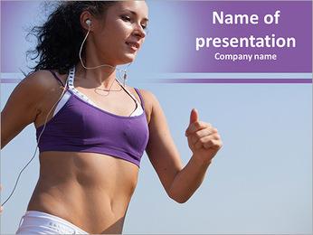 Beautiful brunette on a run PowerPoint Template