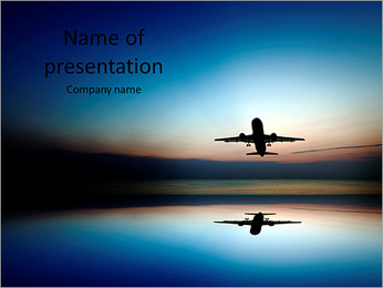 Silhouette of an airplane taking off at sunset PowerPoint Template