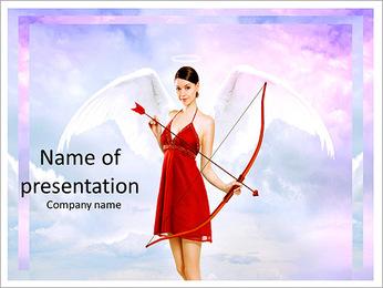 Beautiful brunette shoots arrows of Cupid PowerPoint Template