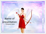 Beautiful brunette shoots arrows of Cupid PowerPoint Templates