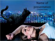 Beautiful girl and black cat on a background of city lights PowerPoint Templates
