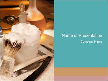 Shaving soap and razor blade PowerPoint Templates - Slide 1