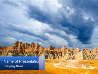 A stormy day the the Badlands national park PowerPoint Templates - Slide 1
