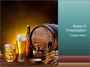 Beer barrel with beer glasses PowerPoint Templates