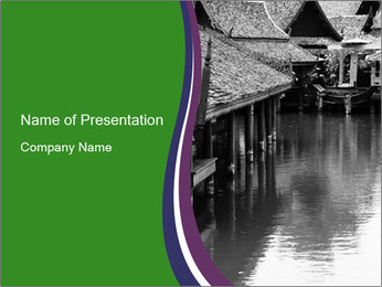 Traditional floating market in Thailand PowerPoint Templates - Slide 1