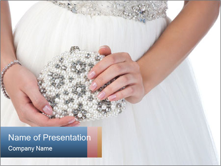 Bride holding white handbag PowerPoint Templates