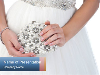 Bride holding white handbag PowerPoint Templates - Slide 1