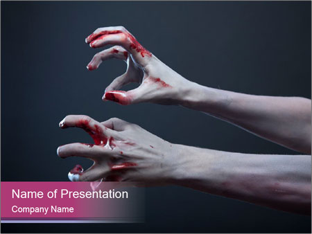 Zombie stretching bloody hands PowerPoint Templates