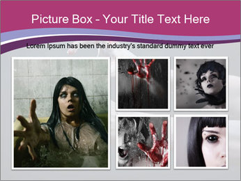 Zombie stretching bloody hands PowerPoint Templates - Slide 19