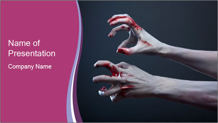 Zombie Stretching Bloody Hands PowerPoint Template