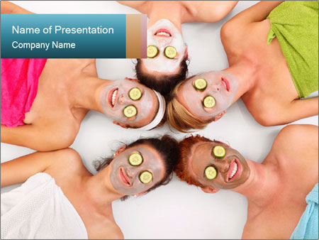 A picture of five girl friends PowerPoint Templates