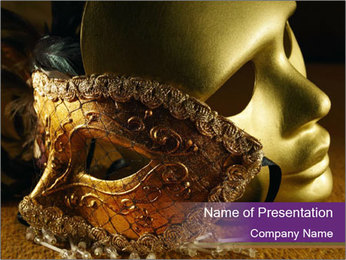 Old golden Venetian masks PowerPoint Template - Slide 1