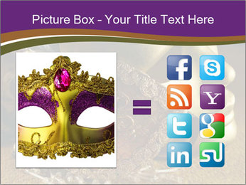 Old golden Venetian masks PowerPoint Template - Slide 21
