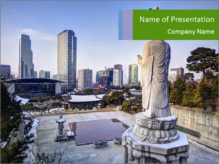 Skyline of downtown PowerPoint Template