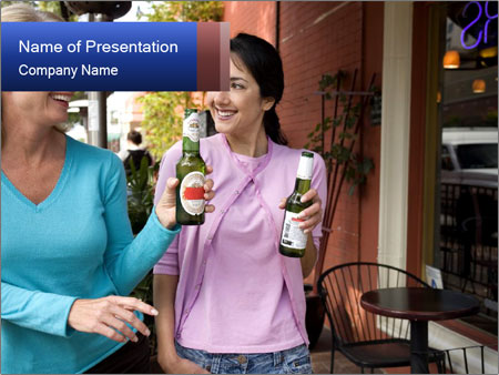 Two women enjoying beer PowerPoint Templates