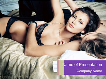 Sexy young couple playing in love games PowerPoint Template - Slide 1
