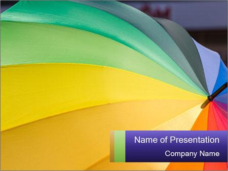 Rainbow-colored umbrella PowerPoint Templates
