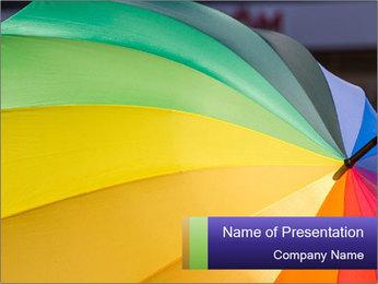 Rainbow-colored umbrella PowerPoint Templates - Slide 1