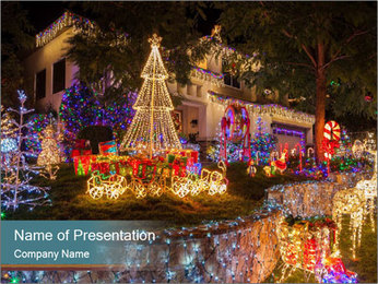 Christmas lights PowerPoint Template - Slide 1