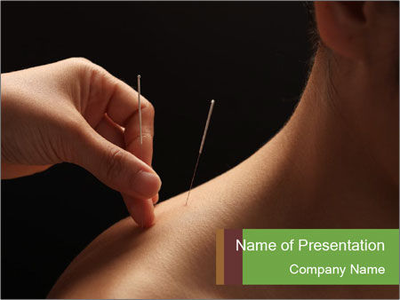 Doctor putting acupuncture needles PowerPoint Templates