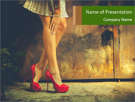 Woman legs in red PowerPoint Templates