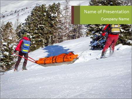 A ski patrol helping PowerPoint Template