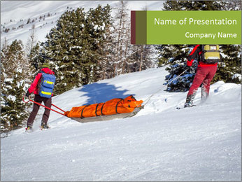A ski patrol helping PowerPoint Templates - Slide 1