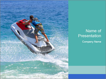 Man on jetski jump PowerPoint Template - Slide 1