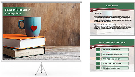 Blue cup with red heart PowerPoint Template
