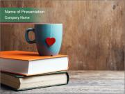 Blue cup with red heart PowerPoint Templates