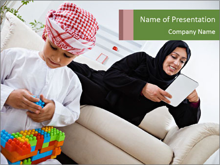 Happy Arabic mother PowerPoint Templates