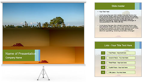 Tropical golf course at sunset PowerPoint Template