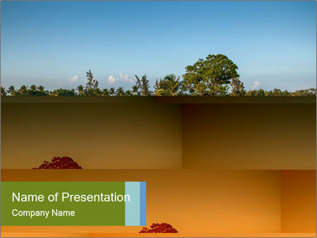 Tropical golf course at sunset PowerPoint Templates