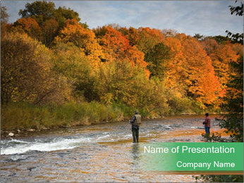 Fall Fishing PowerPoint Template - Slide 1