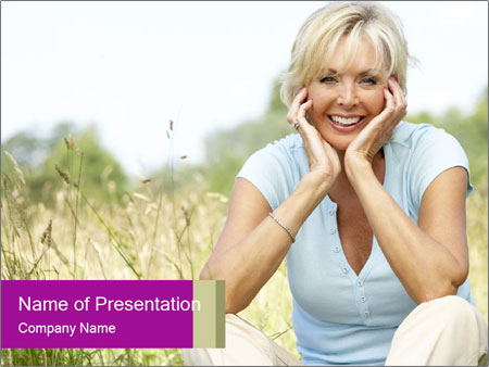 Portrait of mature woman sitting PowerPoint Template