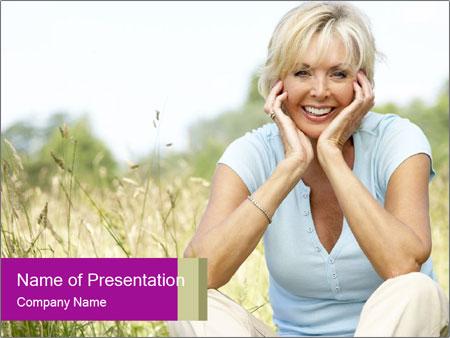 Portrait of mature woman sitting PowerPoint Templates