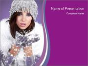 A winter woman smiling PowerPoint Templates