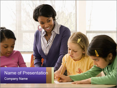 Teacher helping students PowerPoint Template