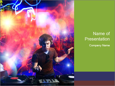 Dj playing disco house PowerPoint Templates
