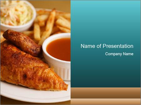 Roast chicken quarter breast PowerPoint Template