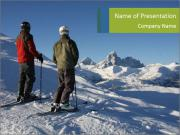 Two skiers view the Tetons PowerPoint Templates