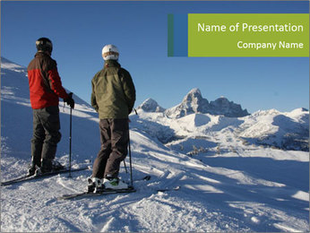 Two skiers view the Tetons PowerPoint Templates - Slide 1