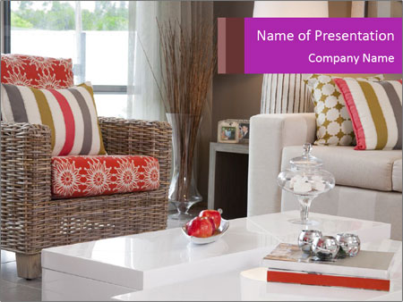Living room in new modern townhouse PowerPoint Templates