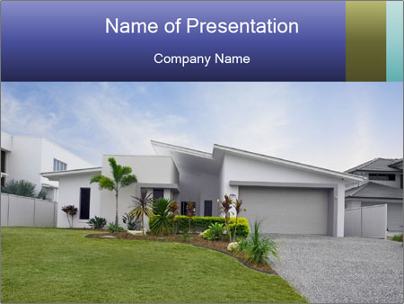 House front modern town PowerPoint Template